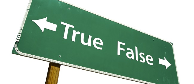 a sign pointing in opposite directions reads true or false