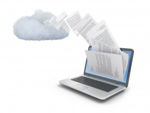 files streaming out of a computer into the cloud